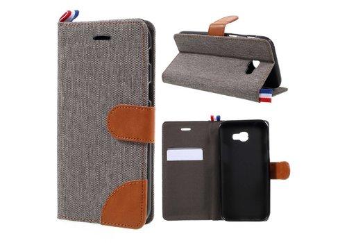 Samsung Galaxy A3 (2017) Wallet Case Hoesje - Dutch Design Denim en Leer - Grijs