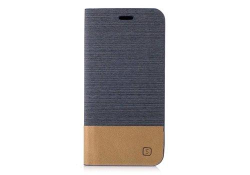 Samsung Galaxy A3 (2017) Denim Design Linnen Textuur Lederen Portemonnee Hoesje met Kaarthouder - Donker Grijs