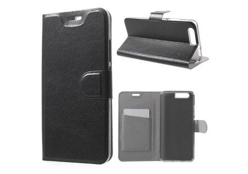 Huawei P10 - PU Lederen Case Hoesje met Pashouder - Zwart