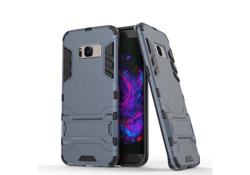 Samsung Galaxy S8 Plus - Ultra Hybride Hardcase Hoesje met standaard - Donker Blauw