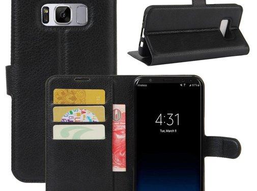 GSMWise Samsung Galaxy S8 Plus - PU lederen TPU Portemonnee hoesje met Kaarthouder Lychee - Zwart