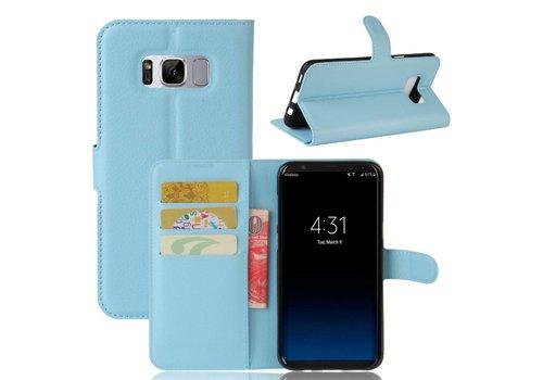 Samsung Galaxy S8 Plus - PU lederen TPU Portemonnee hoesje met Kaarthouder Lychee - Blauw