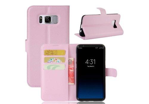 Samsung Galaxy S8 Plus - PU lederen TPU Portemonnee hoesje met Kaarthouder Lychee - Roze
