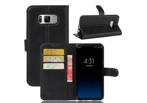 afee1c7f7cd Samsung Galaxy S8 PU lederen TPU Portemonnee hoesje met Kaarthouder Lychee  - Zwart