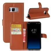 GSMWise Samsung Galaxy S8 PU lederen TPU Portemonnee hoesje met Kaarthouder Lychee - Bruin