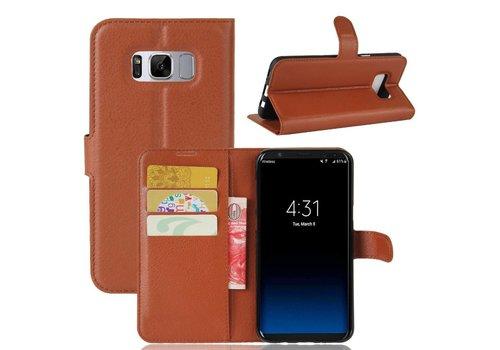 Samsung Galaxy S8 PU lederen TPU Portemonnee hoesje met Kaarthouder Lychee - Bruin