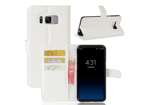 Samsung Galaxy S8 PU lederen TPU Portemonnee hoesje met Kaarthouder Lychee - Wit