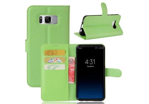 Samsung Galaxy S8 PU lederen TPU Portemonnee hoesje met Kaarthouder Lychee - Groen