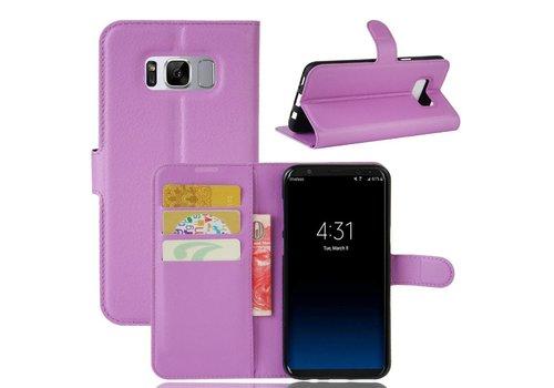 Samsung Galaxy S8 PU lederen TPU Portemonnee hoesje met Kaarthouder Lychee - Paars