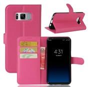 GSMWise Samsung Galaxy S8 PU lederen TPU Portemonnee hoesje met Kaarthouder Lychee - Magenta Hot Pink