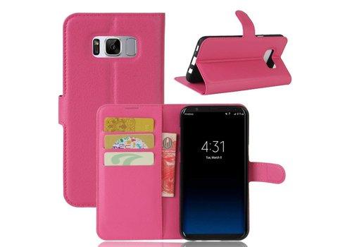 Samsung Galaxy S8 PU lederen TPU Portemonnee hoesje met Kaarthouder Lychee - Magenta Hot Pink