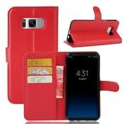 GSMWise Samsung Galaxy S8 PU lederen TPU Portemonnee hoesje met Kaarthouder Lychee - Rood
