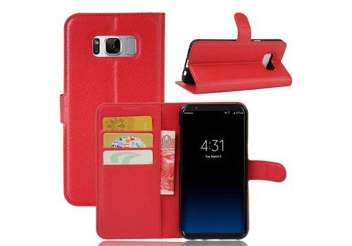 Samsung Galaxy S8 PU lederen TPU Portemonnee hoesje met Kaarthouder Lychee - Rood