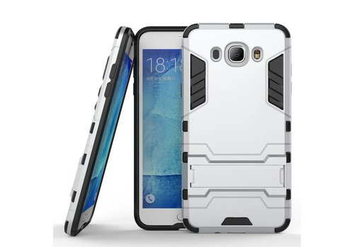 Samsung Galaxy J7 (2016) Hybride Hardcase Stevig Hoesje met standaard - Zilver