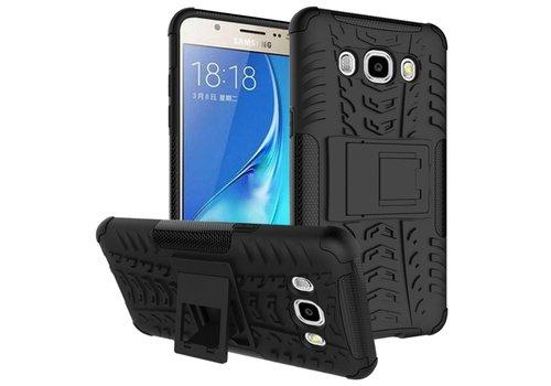 Samsung Galaxy J7 (2016) Ultra Hybride Hardcase Stevig Hoesje met standaard - Zwart