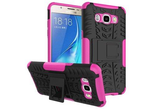 Samsung Galaxy J7 (2016) Ultra Hybride Hardcase Stevig Hoesje met standaard - Magenta Hot Pink