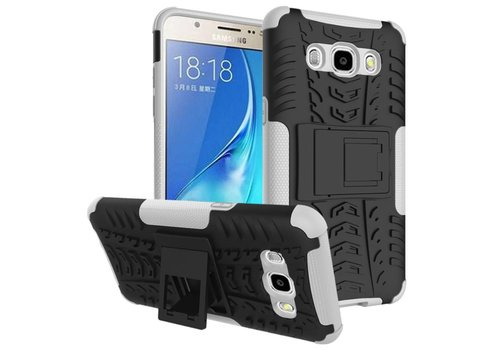Samsung Galaxy J7 (2016) Ultra Hybride Hardcase Stevig Hoesje met standaard - Wit