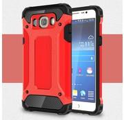 GSMWise Samsung Galaxy J7 (2016) Stevig Hybride Beschermhoesje met Aluminium Backcover Shockproof - Rood