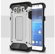 GSMWise Samsung Galaxy J7 (2016) Stevig Hybride Beschermhoesje met Aluminium Backcover Shockproof - Zilver Grijs