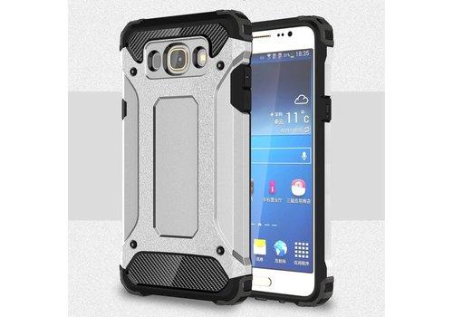 Samsung Galaxy J7 (2016) Stevig Hybride Beschermhoesje met Aluminium Backcover Shockproof - Zilver Grijs