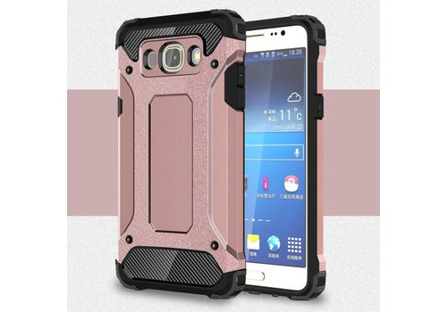 Samsung Galaxy J7 (2016) Stevig Hybride Beschermhoesje met Aluminium Backcover Shockproof - Rose Goud