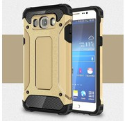 GSMWise Samsung Galaxy J7 (2016) Stevig Hybride Beschermhoesje met Aluminium Backcover Shockproof - Goud