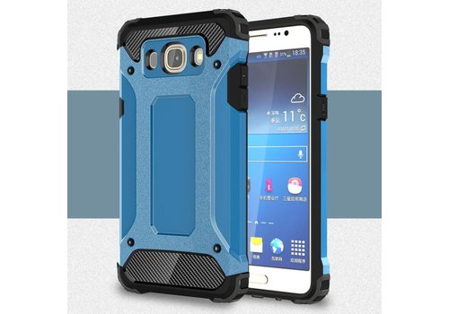 Samsung Galaxy J7 (2016) Stevig Hybride Beschermhoesje met Aluminium Backcover Shockproof - Licht Blauw
