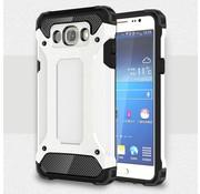 GSMWise Samsung Galaxy J7 (2016) Stevig Hybride Beschermhoesje met Aluminium Backcover Shockproof - Wit
