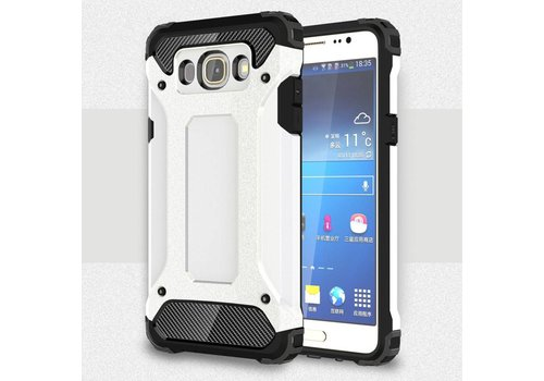Samsung Galaxy J7 (2016) Stevig Hybride Beschermhoesje met Aluminium Backcover Shockproof - Wit