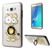 GSMWise Samsung Galaxy J7 (2016) Ringhouder hoesje Back Case - Luipaard Cartoon - Transparant