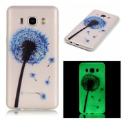 GSMWise Samsung Galaxy J7 (2016) Zachte TPU Hoesje Back Case - Blauwe Paardenbloem Design - Transparant
