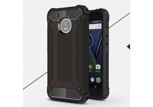 Motorola Moto G5 - Stevig Hybride Beschermhoesje met Aluminium Backcover Shockproof - Zwart
