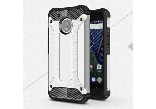 Motorola Moto G5 - Stevig Hybride Beschermhoesje met Aluminium Backcover Shockproof - Zilver
