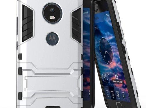 GSMWise Motorola Moto G5 - Hybride Hardcase Stevig Hoesje met Standaard - Zilver