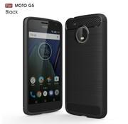 GSMWise Motorola Moto G5 - Geborsteld Hard Back Case Carbon Fiber Design - Zwart