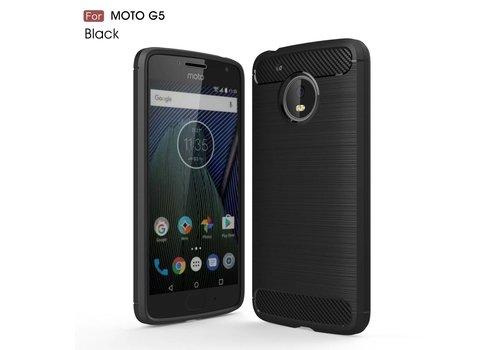 Motorola Moto G5 - Geborsteld Hard Back Case Carbon Fiber Design - Zwart