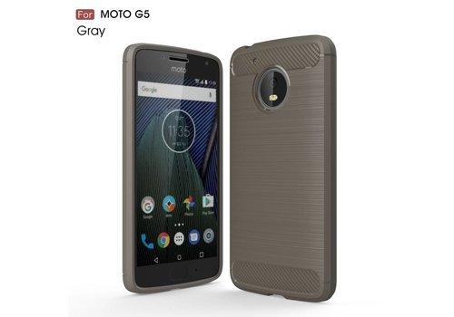 Motorola Moto G5 - Geborsteld Hard Back Case Carbon Fiber Design - Grijs