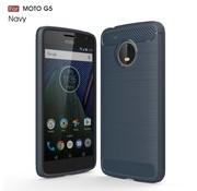GSMWise Motorola Moto G5 - Geborsteld Hard Back Case Carbon Fiber Design - Donker Blauw