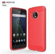 GSMWise Motorola Moto G5 - Geborsteld Hard Back Case Carbon Fiber Design - Rood