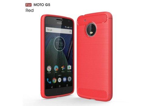 Motorola Moto G5 - Geborsteld Hard Back Case Carbon Fiber Design - Rood