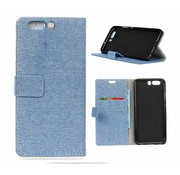 GSMWise Huawei P10 - Denim Design Linnen Textuur Lederen Portemonnee Hoesje met Kaarthouder - Blauw