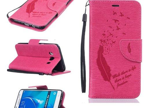 GSMWise Samsung Galaxy J5 (2016) - PU Lederen Portemonnee Hoesje met Kaarthouder - Veren Design - Magenta Hot Pink