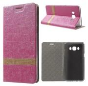 GSMWise Samsung Galaxy J5 (2016) - Lijn Textuur Book Hoesje - Magenta Hot Pink