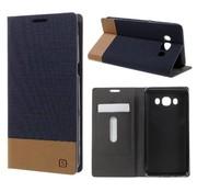 GSMWise Samsung Galaxy J5 (2016) - Denim Design Linnen Textuur Lederen Case met Kaarthouder - Donker Blauw
