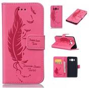 GSMWise Samsung Galaxy J5 (2016) - PU Lederen Portemonnee Hoesje Cover met Kaarthouder - Veren Design - Magenta Hot Pink