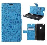 GSMWise Huawei P8 Lite (2017) / Honor 8 Lite - PU lederen TPU Portemonnee hoesje met Kaarthouder Cartoon Design - Blauw