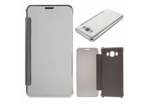 Samsung Galaxy J7 (2016) Doorzichtige Window View Book Case - Zilver Grijs