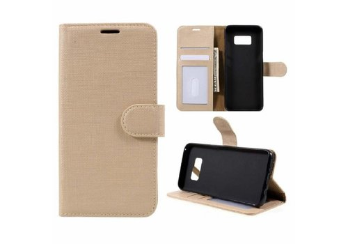 Samsung Galaxy S8 Lychee Textuur Lederen Portemonnee Hoesje met Kaarthouder - Goud