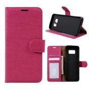 GSMWise Samsung Galaxy S8 Lychee Textuur Lederen Portemonnee Hoesje met Kaarthouder - Magenta Hot Pink
