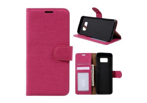 Samsung Galaxy S8 Lychee Textuur Lederen Portemonnee Hoesje met Kaarthouder - Magenta Hot Pink